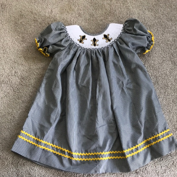 size 40 442ca 90983 Smocked New Orleans saints dress